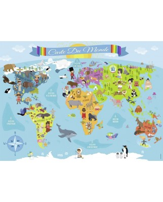 Puzzle Nathan - World Map (in French), 150 piese XXL (52656)