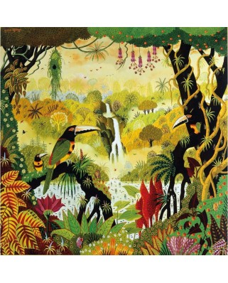 Puzzle din lemn Michele Wilson - Ariel Toucan by the Waterfall, 80 piese dificile (5565)