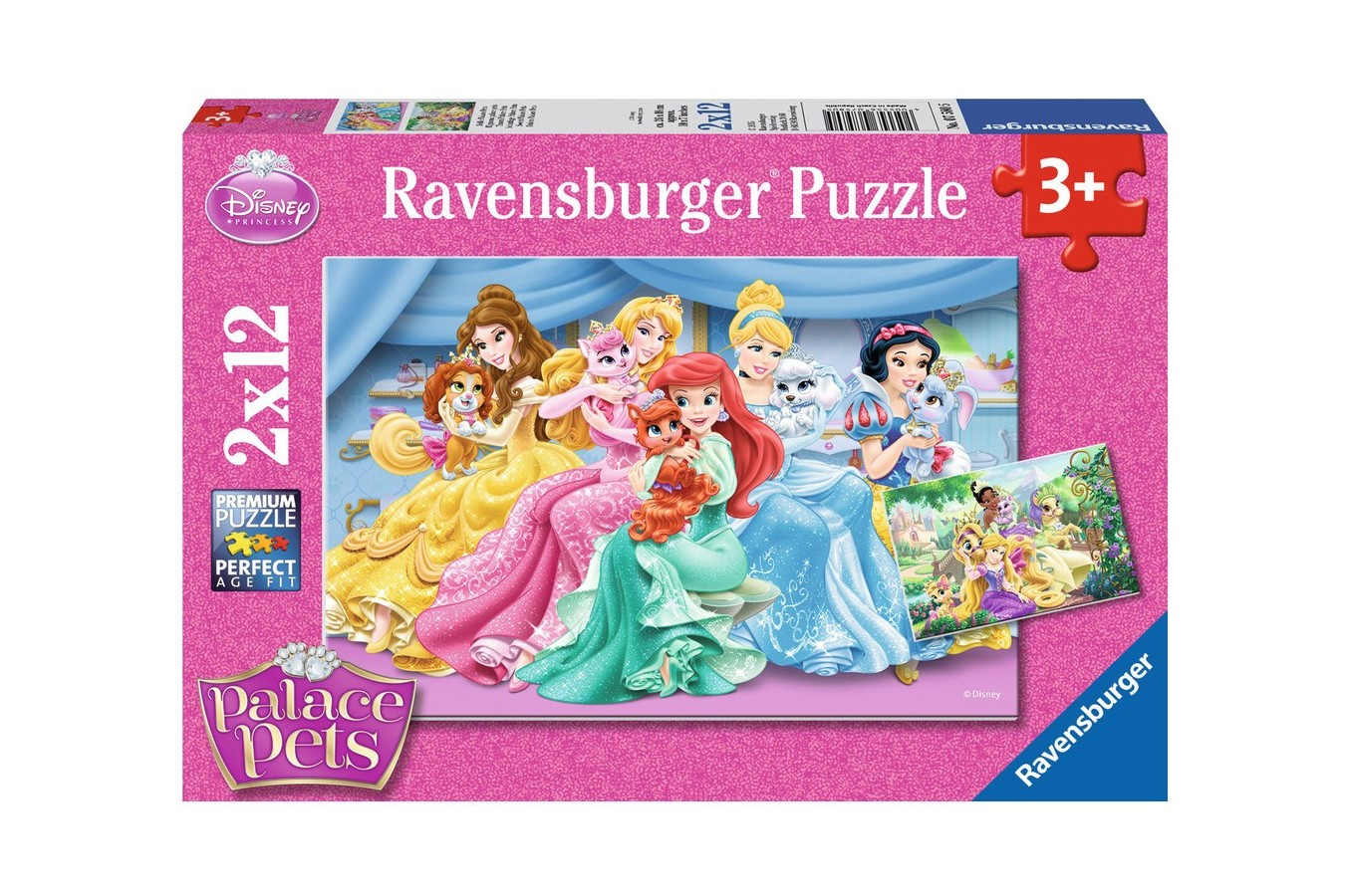 Puzzle Ravensburger - Palace Pets, 2x12 piese (07580)