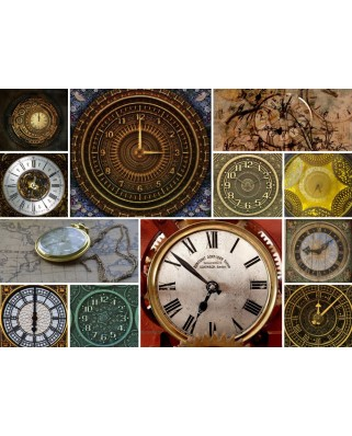 Puzzle din lemn Michele Wilson - Collages - Clocks, 80 piese dificile (58609)