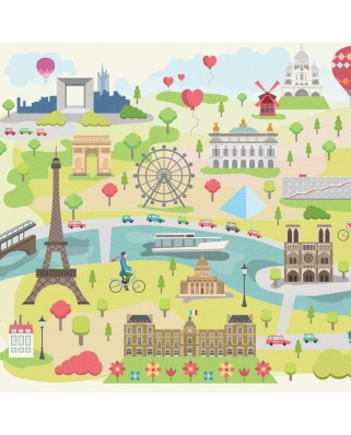 Puzzle din lemn Michele Wilson - Collection Paris: Illustrated Paris, 30 piese dificile (43673)