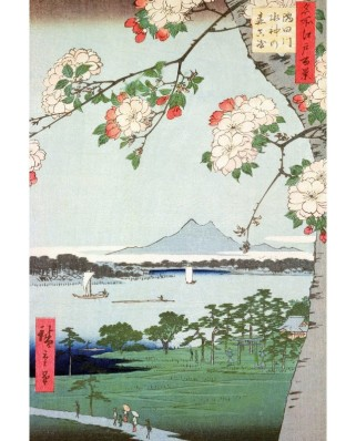 Puzzle din lemn Michele Wilson - Hiroshige Utagawa: Apple Trees in Bloom, 150 piese dificile (4602)
