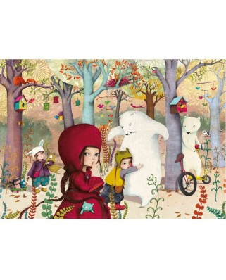 Puzzle din lemn Michele Wilson - Sophie Lebot: Encounter in the forest, 24 piese dificile (12874)