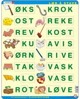 Puzzle Larsen - Buchstabieren lernen 3 (auf Norwegisch), 26 piese (48675)