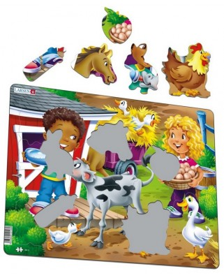 Puzzle Larsen - Farm Kids with Calf, 18 piese (50878)