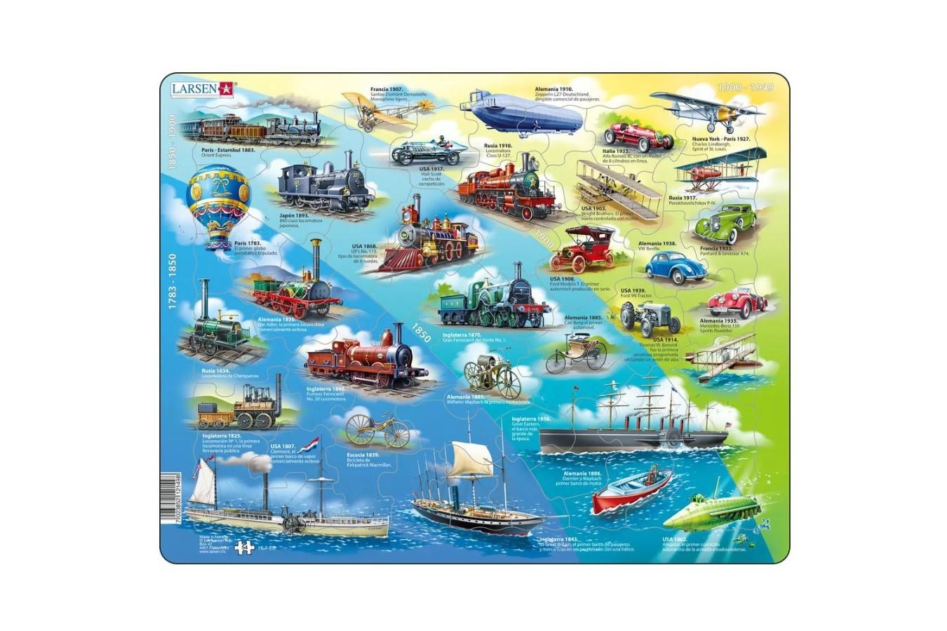 Puzzle Larsen - Historical Vehicles (in Spanish), 54 piese (61628)