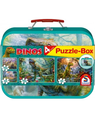 Puzzle Schmidt - Dinosaurs, 2x60 + 2x100 piese, cutie metalica (56495)