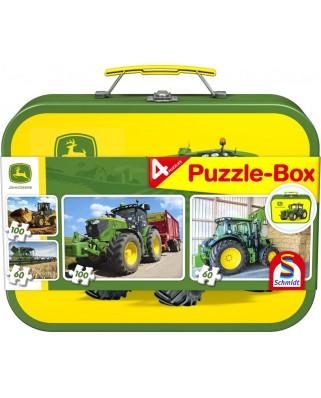Puzzle Schmidt - John Deere, 2x60 + 2x100 piese, cutie metalica (56497)