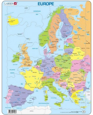 Puzzle Larsen - Map of Europe (in French), 37 piese (48137)