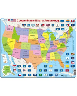 Puzzle Larsen - Map of the United States (in Russian), 48 piese (63282)