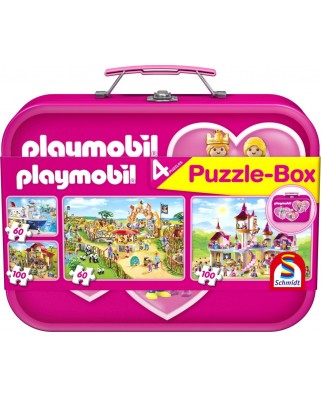 Puzzle Schmidt - Playmobil Pink, 2x60 + 2x100 piese, cutie metalica (56498)