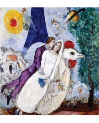 Puzzle din lemn Michele Wilson - Marc Chagall : The Bridal Pair with the Eiffel Tower, 250 piese dificile (4590)
