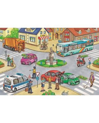Puzzle Schmidt - Vehicles, 2x26 + 2x48 piese, cutie metalica (56508)