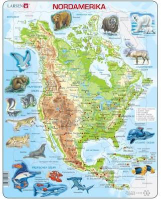 Puzzle Larsen - North America, 66 piese (48373)