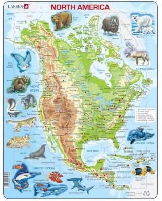 Puzzle Larsen - North America, 66 piese (48694)