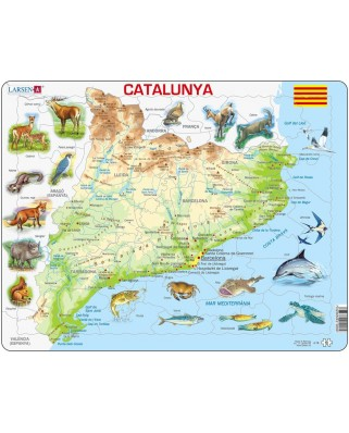 Puzzle Larsen - Physical Map of Catalonia, 60 piese (48369)