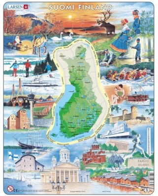 Puzzle Larsen - Physical Map of Finland, 75 piese (48660)