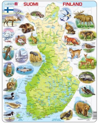 Puzzle Larsen - Physical Map of Finland, 78 piese (48627)