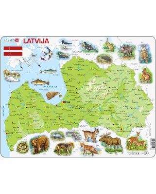 Puzzle Larsen - Physical Map of Latvia, 48 piese (48530)