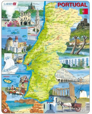 Puzzle Larsen - Physical Map of Portugal, 64 piese (48623)