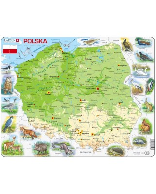 Puzzle Larsen - Poland Physical Map, 61 piese (48645)