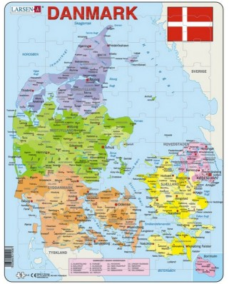 Puzzle Larsen - Political Map of Denmark, 70 piese (48135)