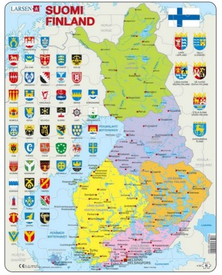 Puzzle Larsen - Political Map of Finland, 48 piese (48646)