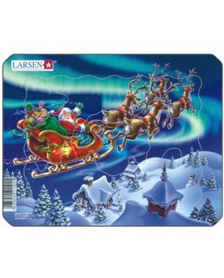 Puzzle Larsen - Santa in Nordic Light, 6 piese (48542)