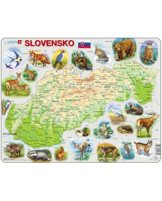 Puzzle Larsen - Slovakia Physical Map with Animals, 58 piese (48625)