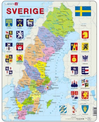 Puzzle Larsen - Sweden Political Map, 70 piese (48136)