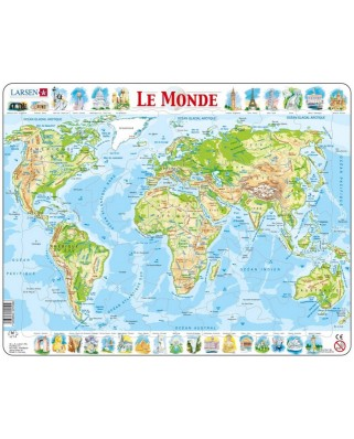 Puzzle Larsen - The World Physical (in French), 80 piese (48739)
