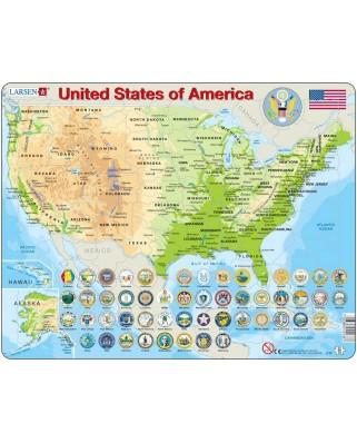 Puzzle Larsen - United States of America (auf Englisch), 90 piese (48523)