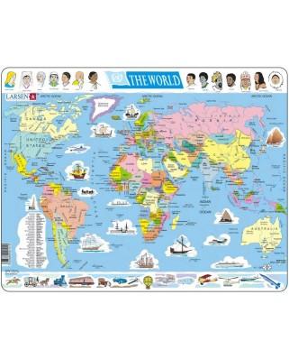 Puzzle Larsen - Weltkarte (auf Englisch), 107 piese (48737)