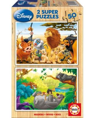 Puzzle din lemn Educa - Disney : My Animals Friends, 2x50 piese (13144)