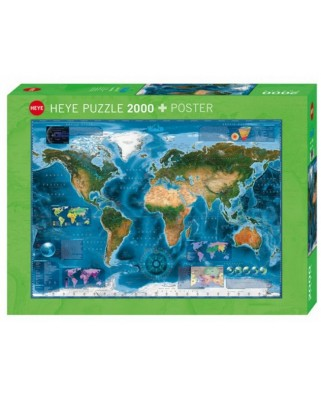 Puzzle Heye - Satellite Map of the world, 2.000 piese (57753)