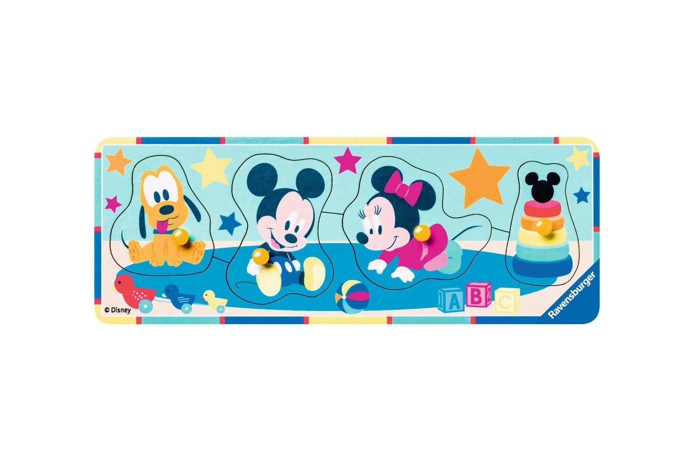 Puzzle din lemn Ravensburger - Personaje Disney, 4 piese (03238)