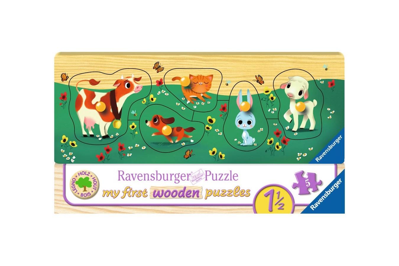 Puzzle din lemn Ravensburger - Animale, 5 piese (03235)