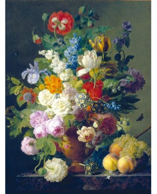 Puzzle Clementoni - Van Dael: Vase with Flowers, Grapes, and Peaches, 1.000 piese (654)