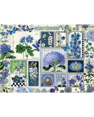 Puzzle Cobble Hill - Blue Flowers, 1.000 piese (64985)