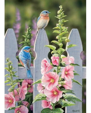 Puzzle Cobble Hill - Bluebirds and Hollyhocks, 1.000 piese (64956)