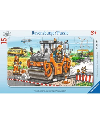 Puzzle Ravensburger - Compactor Asfalt, 15 piese (06139)