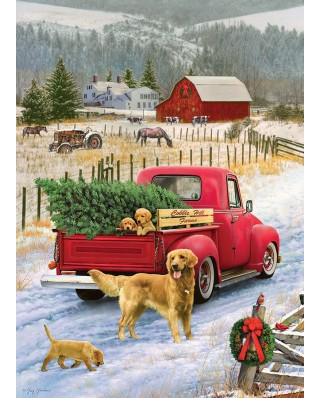 Puzzle Cobble Hill - Christmas on the Farm, 1.000 piese (58255)