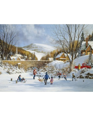 Puzzle Cobble Hill - Hockey on Frozen Lake, 1.000 piese (44482)