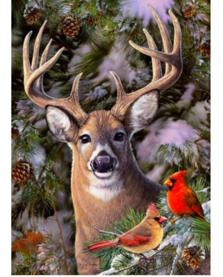 Puzzle Cobble Hill - One Deer Two Cardinals, 500 piese XXL (65012)
