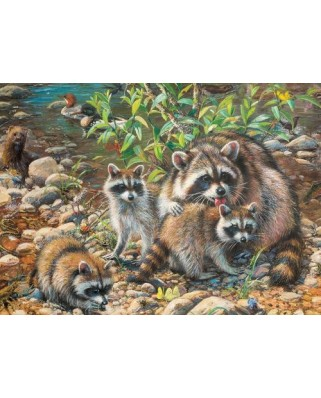 Puzzle Cobble Hill - Raccoon Family, 350 piese XXL (64926)