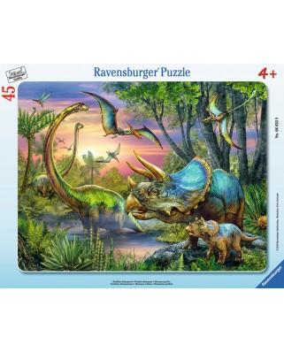 Puzzle Ravensburger - Dinozauri In Zori, 45 piese (06633)