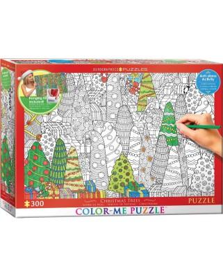 Puzzle de colorat Eurographics - Christmas Trees, 300 piese XXL (56040)