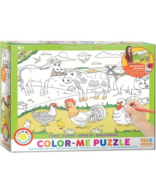 Puzzle de colorat Eurographics - Color Me - Farm, 100 piese (6111-0893)
