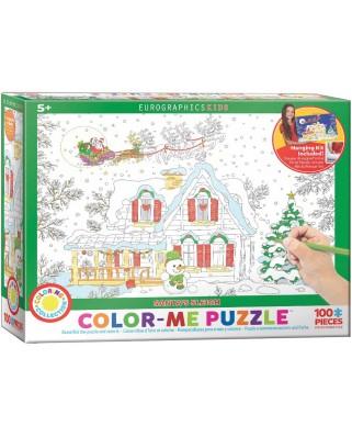 Puzzle de colorat Eurographics - Color Me - Santa's Sleigh, 100 piese (62210)
