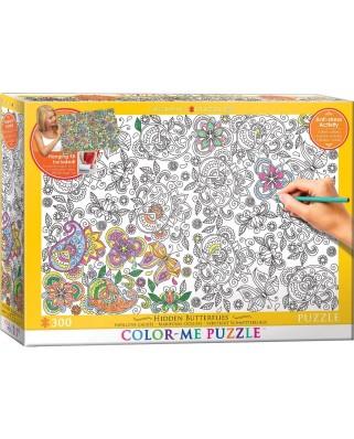 Puzzle de colorat Eurographics - Hidden Butterflies, 300 piese XXL (56037)